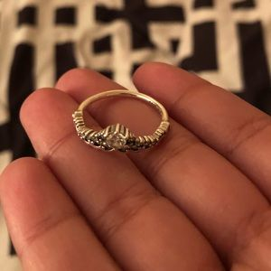 Sterling silver princess ring